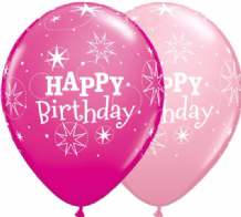 Birthday Sparkle Pink (Asst) - 11 Inch Balloons 25pcs